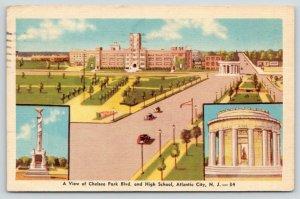 Atlantic City New Jersey~Chelsea Park Blvd & High School~1946 Colorcraft Linen