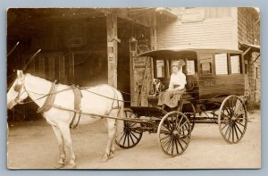 MEREDITH NH ELM HOTEL HORSE CART ANTIQUE REAL PHOTO POSTCARD RPPC LADY w/ DOG