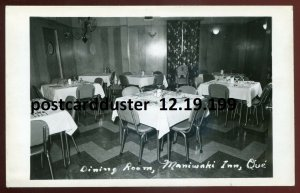 dc222 - MANIWAKI Quebec 1940s Inn Interior. Dining Room. Real Photo Postcard