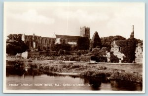 Postcard England UK Christchurch Priory Church From River RPPC 1936 Photo AD6