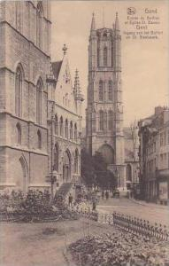 Belgium Gand Gent Entree du Beffroi et Eglise St Bavon