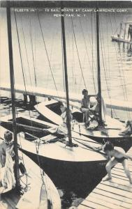 Sail Boats Yachts YMCA Camp Lawrence Cory Penn Yan New York postcard