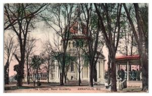 1909 US Naval Academy Chapel, Annapolis MD Hand-Colored Postcard Danforth Family