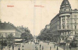 Budapest 1916 Rakoczi strasse animated street policeman trams