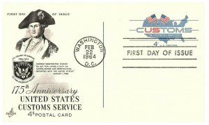 1964 First Day of Issue 175th Anniversary Customs Service 4 cent Postcard