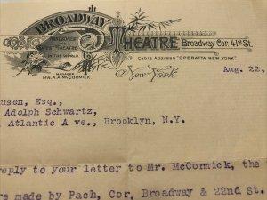 1898 BROADWAY THEATRE Operatta NEW YORK McCormick 41st St Envelope & Letterhead