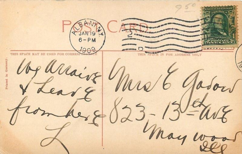 Albany New York~Union Railroad Station~Family on Corner~1909 Postcard