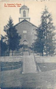 D27/ New Straitsville Ohio Postcard c1910 St Augustine Church Building