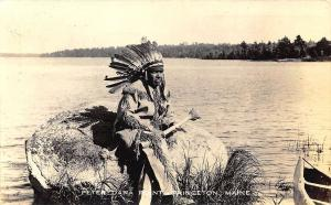 Peter Dana Point Princeton ME Native American Indian Canoe RPPC Postcard