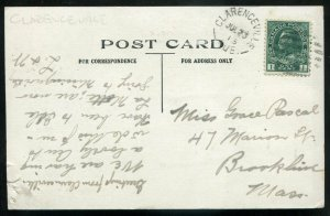3574 - CLARENCEVILLE Quebec Postcard 1913 Exaggeration Fishing. Canoe