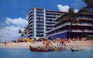 Reef Hotel, Waikiki, Hawaii, USA Motel Hotel Writing On Back writing on back ...