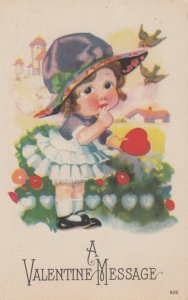 VALENTINE'S DAY, 1900-10s; A Valentine Message, Little Girl holding a heart