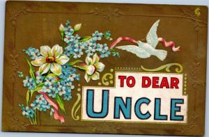 postcard - To Dear Uncle - blue forget me not and dove - AA publisher - embossed