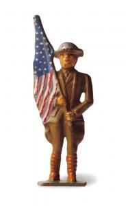 Postcard USA of Post WW1 World War 1 Painted Metal Flag Bearer Toy Soldier