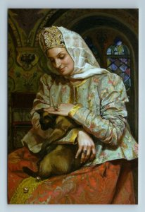 PRETTY WOMAN with CAT Russian Type  Ethnic Folk Costume New Unposted Postcard
