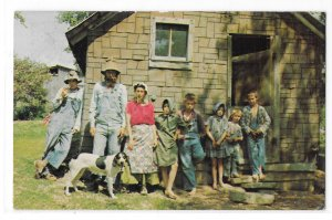 Ozarks Livin Hillbilly Style Missouri Family Portrait Maw Paw Kids Dog Postcard