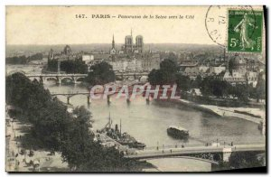 Old Postcard Paris Panorama of the Seine Towards the Cite