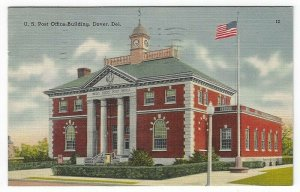 Dover, Delaware, Vintage Postcard View of The U. S. Post Office Building, 1949
