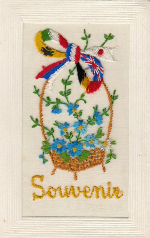 EMBROIDERED, 1900-10s; Souvenir , Allied Flags Ribbon