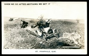 518 - ST. PAMPHILE Quebec 1940s Exaggeration Rabbit Hunting. Real Photo Postcard