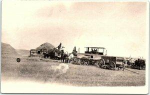 RPPC Threshing In North Dakota Steam Traction Engine Horses Real Photo Postcard