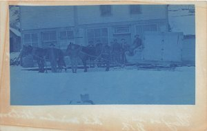F82/ Occupational RPPC Postcard c1910 Horse Team Sled Winter Delivery 6