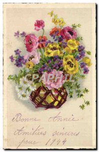 Happy New Year - Pretty Flowers - Old Postcard