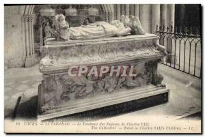 Postcard Old Death Tours cathedral Grave of the children of Charles VIII