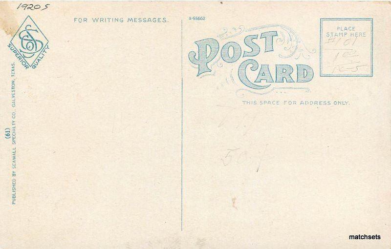 1920s Union Station Rairoad GALVESTON TEXAS Auto Seawall Postcard 5516