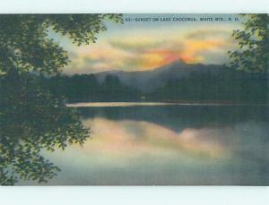 Unused Linen SUNSET ON LAKE White Mountains New Hampshire NH F3599