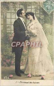 Postcard Old Sowing In Kissing Woman Marriage