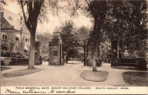 Field Memorial Gate, Mount Holyoke College South Hadley MA Vintage Postcard K08