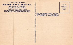 When In Chicago Stop At The Harrison Hotel Illinois Vintage Linen Post Card