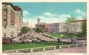 Vintage Postcard 1930's Pennsylvania Avenue from Treasury Building Washington DC