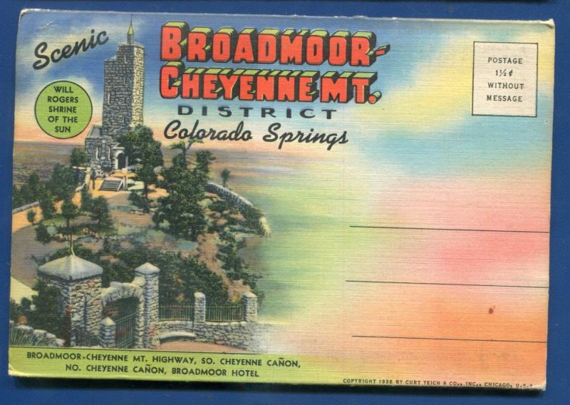 Broadmoor Cheyenne MT district Colorado Springs co Will Rogers postcard folder