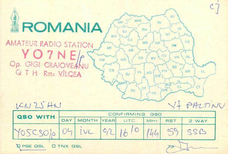 Romania Amateur Radio Station QSL card country map Valcea op. Gigi Craioveanu
