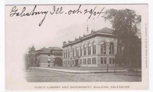 Public Library & Government Building Galesburg Illinois 1904 postcard