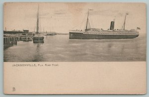 Jacksonville Florida~River Front Steamer~Yacht @ Wharf Docks~TUCK Collotype 1905