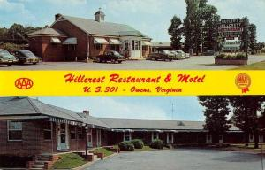 Owens Virginia view of Hillcrest Restaurant & Motel vintage pc Z45648