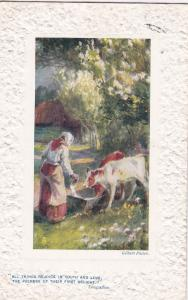 TUCK, No. 9717, In The Country, A maiden and cows, PU-1910; Embossed border