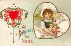 G30/ Valentine's Day Love Holiday Postcard c1910 Pretty Girl Heart 10