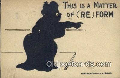 Suffragette, RL Wells Silhouette 1908 minor corner wear, yellowing on card fr...