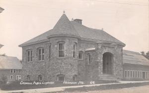Harrison ME~Caswell Romanesque Revival Library~Conservancy Center RPPC c1909 PC