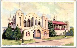 1915 San Diego PCE Expo Postcard WASHINGTON STATE BUILDING w/ CA Cancel
