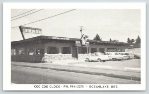 Oceanlake OR~Coo Coo Clock Roadside Diner~Bird Sign~1950s Cars~Station Wagon B&W