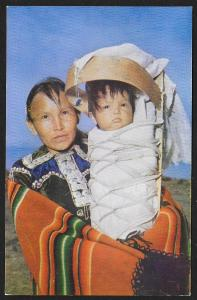 Navajo Mother & Baby on Cradle Board Arizona Unused c1950s