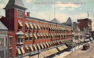 Rochester New York~Trolley Stops at Osburn House Hotel~Flag on YMCA~1908 PC