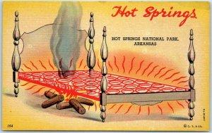 1940s HOT SPRINGS National Park Arkansas Postcard Bed / Fire Comic Humor Linen