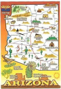 US Arizona. Map of State and sites to see.  Unused