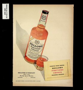 1953 Bellow's Partners Choice Whiskey Vintage Print Ad 015746